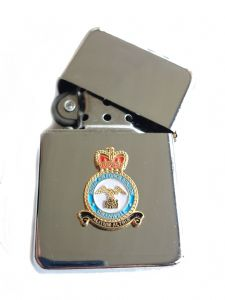 RAF Cranwell Royal Air Force Chrome Plated Windproof Petrol Lighter in Gift Box